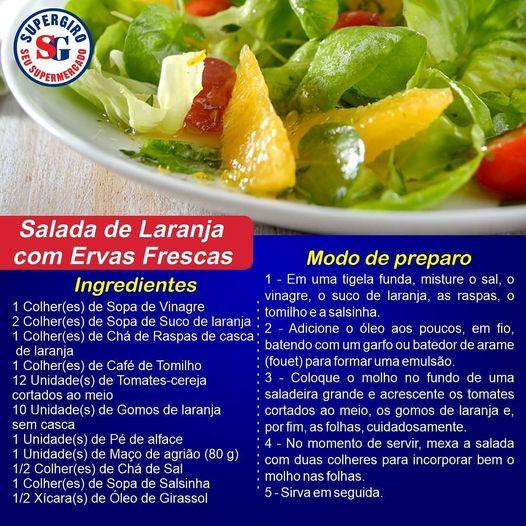 Ofertas supermercado SUPERGIRO receita de salada